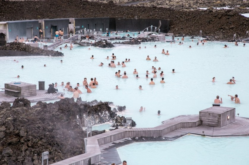 Iceland's Blue Lagoon and bathers.