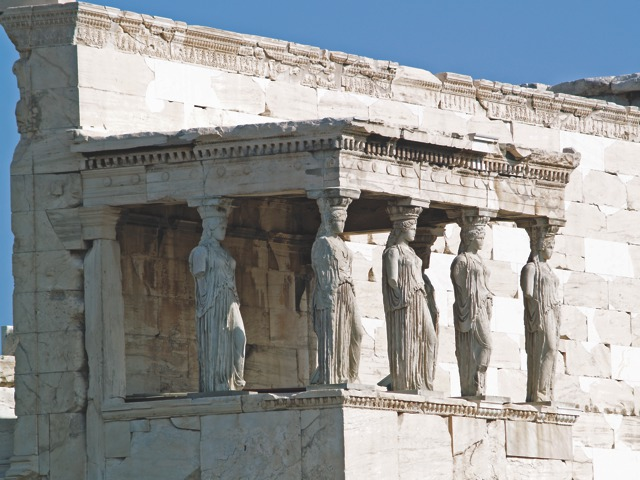 "The famous ""Porch of the Caryatids (maidens) with six draped female figures as supporting columns"