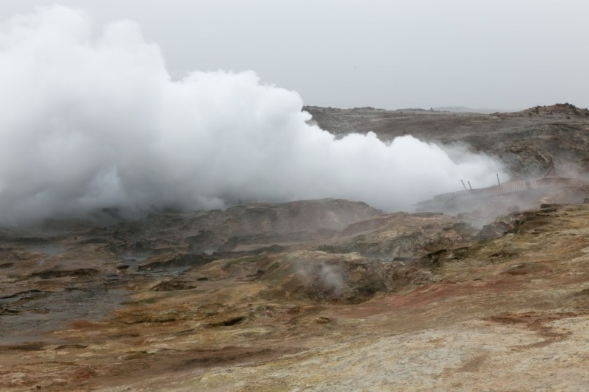 A Steam Vent in Iceland produces geothermal heat.