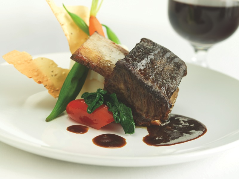 Braised Alberta Beef Short Ribs are a signature lunch dish aboard the train.
