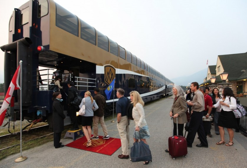 Red carpet boarding on the Rocky Mountaineer.