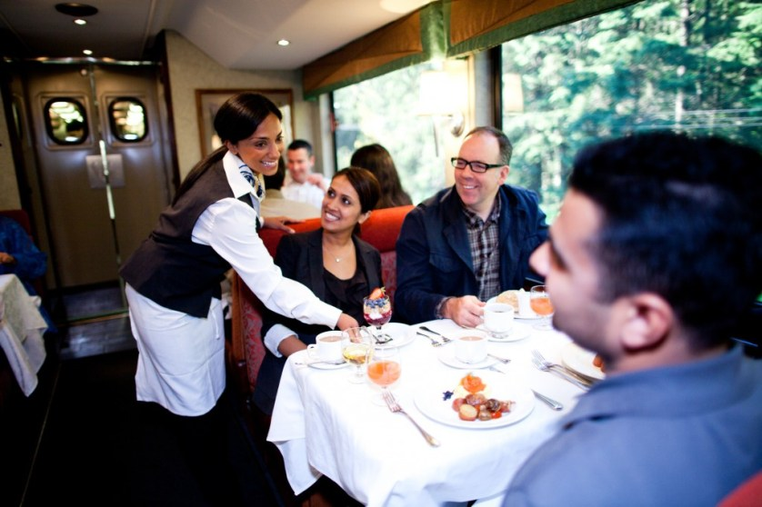 Service in the dining room is cheerful and attentive.