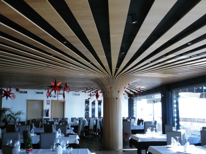 Wooden ceiling of the restaurant