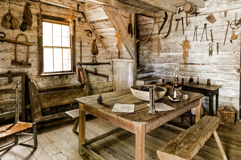 Interior of the Log Cabin at Callaway Plantation.