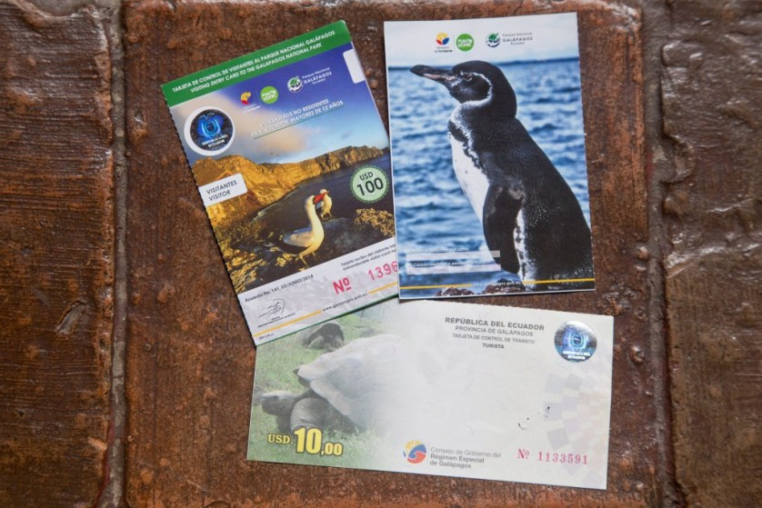 Galapagos Islands National Park ticket stubs
