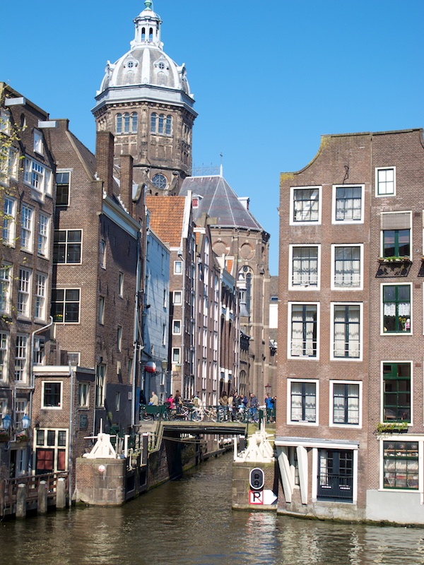 Buildings sag and settle over time along the canals of Amsterdam