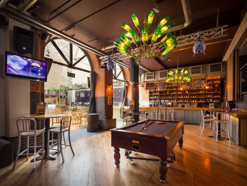 Generator pays tribute to the neighboring Jameson Distillery with its one-of-a-kind Jameson bottle chandeliers, where I could enjoy drinks beneath at the in-house bar alongside the curated art pieces and leather-tufted chesterfields. (Photography Generator Hostel)