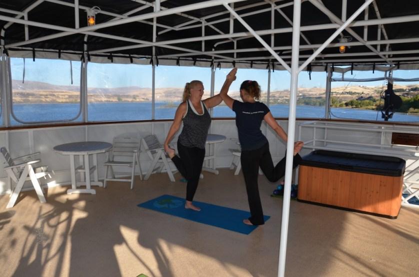 Yoga class onboard.