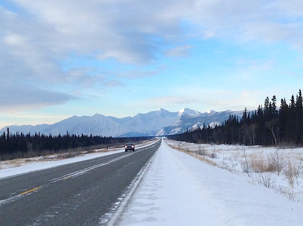 Typical traffic  on the  Alaskan Hwy