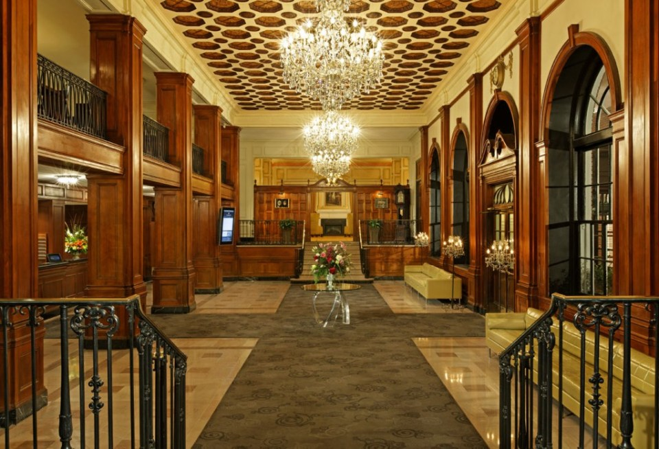 The stately lobby of the Lord Nelson Hotel