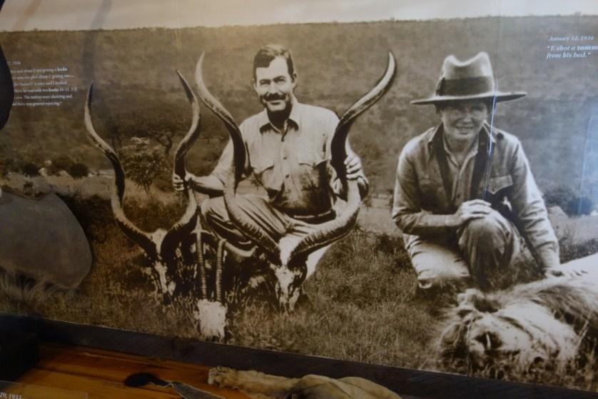 Hemingway safari mural on upper loft of barn office