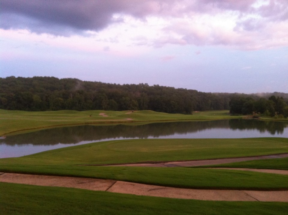 An evening view of the golf course.