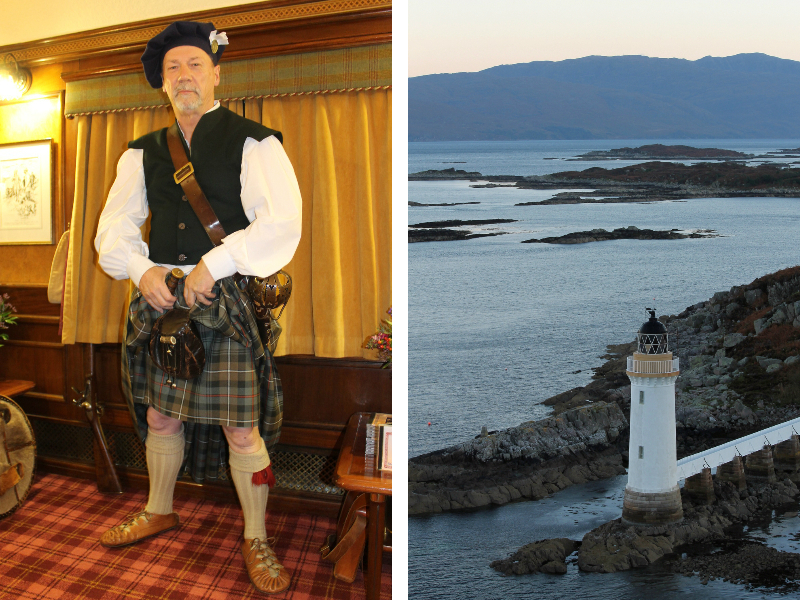 A Highlander entertains the guests. Kyleakin Lighthouse