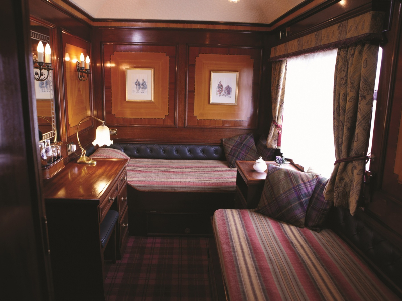 Cabin aboard the Royal Scotsman. Photo Courtesy of Belmond