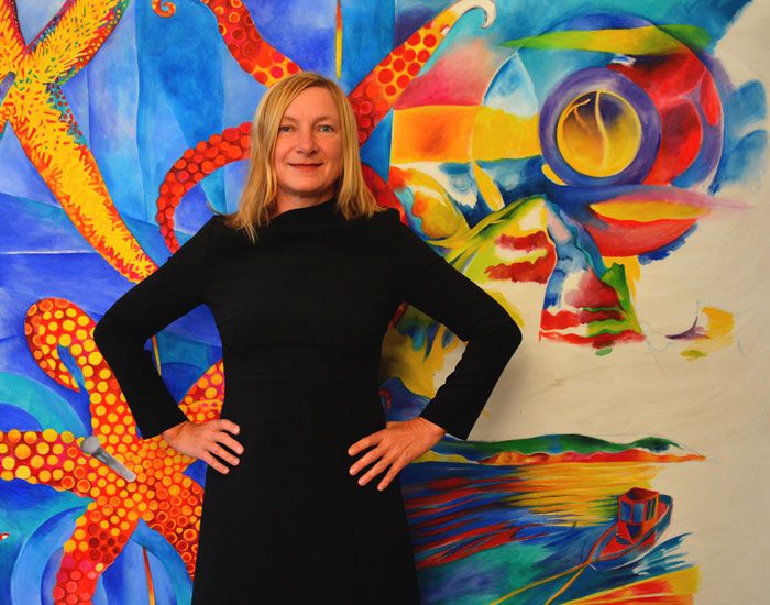 "Elke Daemmrich in front of her painting ""Dead in Marseillveyre "", oil on canvas, in November 2014, before it was finished. See finished painting below."