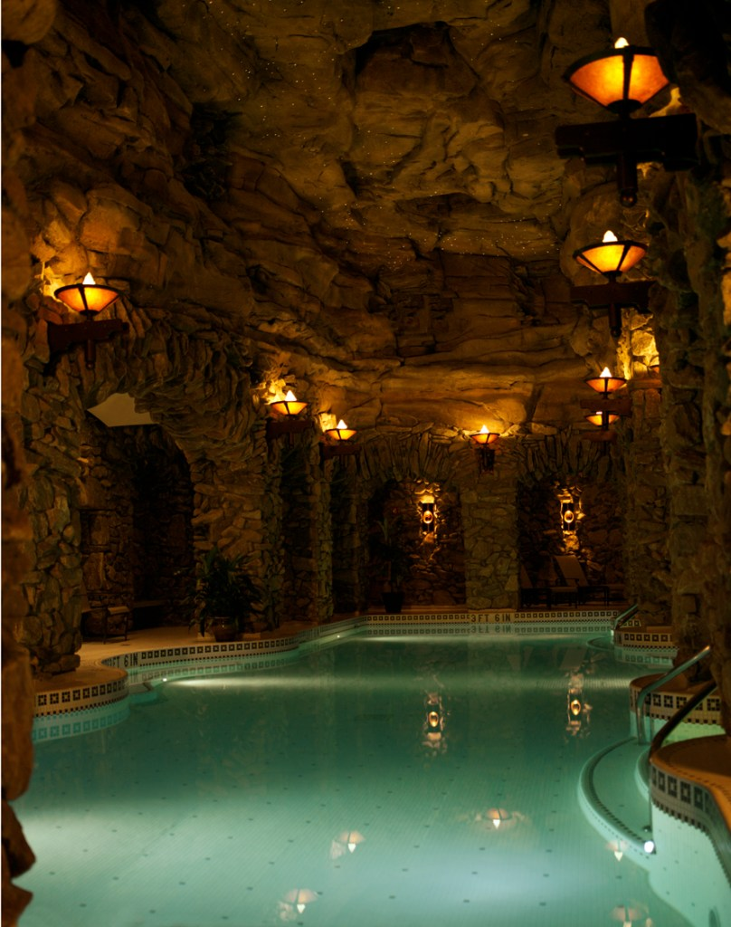 The 43,000-square-foot subterranean spa has 20 water features