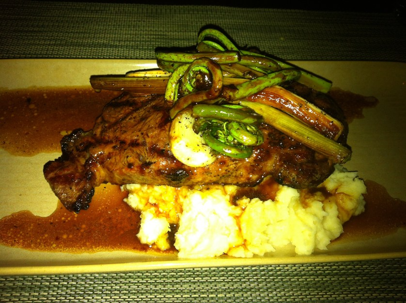 Ribeye Steak with Fiddle-head Ferns at Urbane