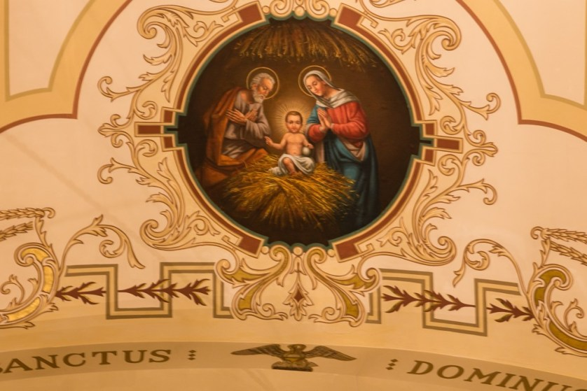 Painted medallion on the Basilica ceiling.