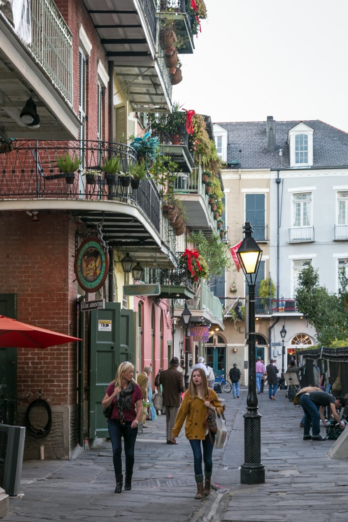 New Orleans draped in holiday greenery.