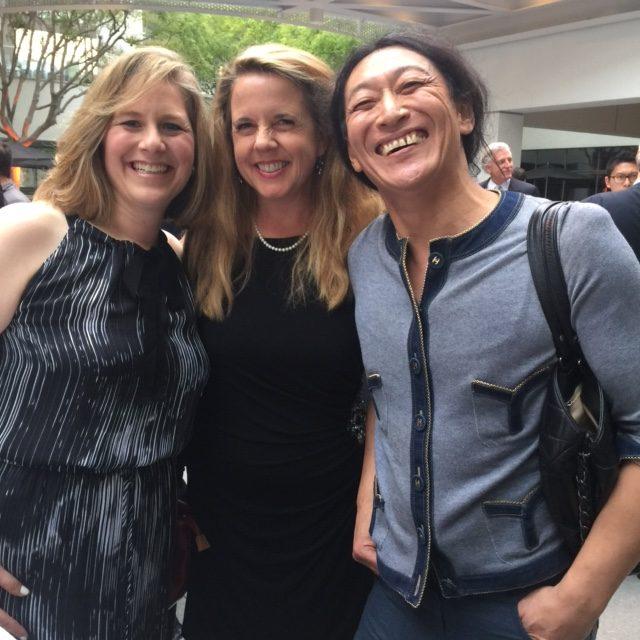 Wine expert Allison Levine, Jill Weinlein and artist Yutaka Sone.