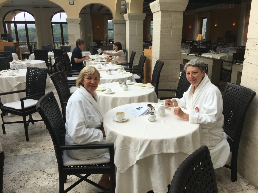 Relaxed breakfast in spa robes.