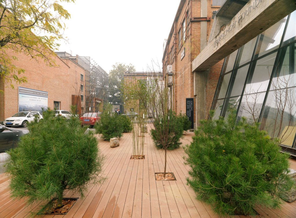 Installation view of Yoko Ono Golden Ladders at Faurschou Foundation, Beijing