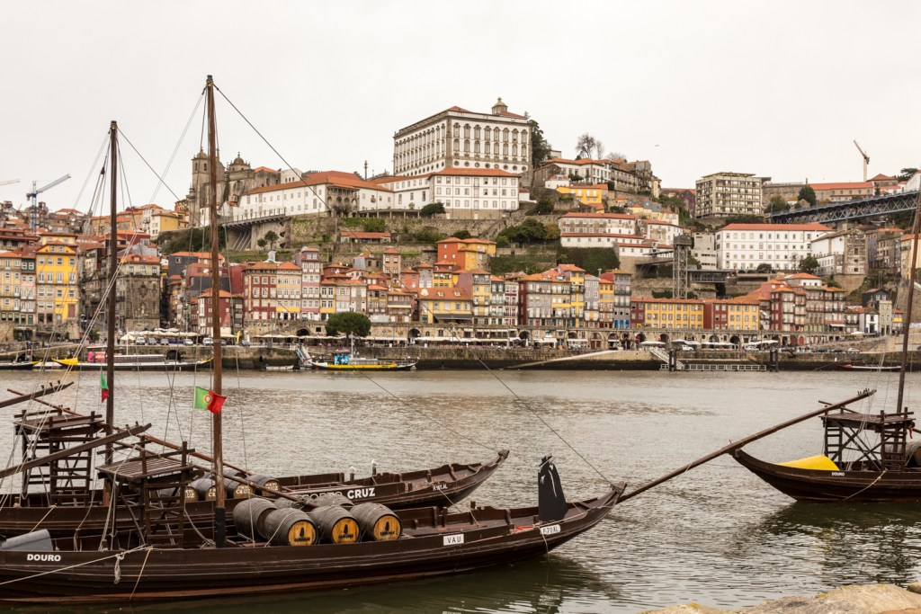 Arriving at the cruise dock in Porto.