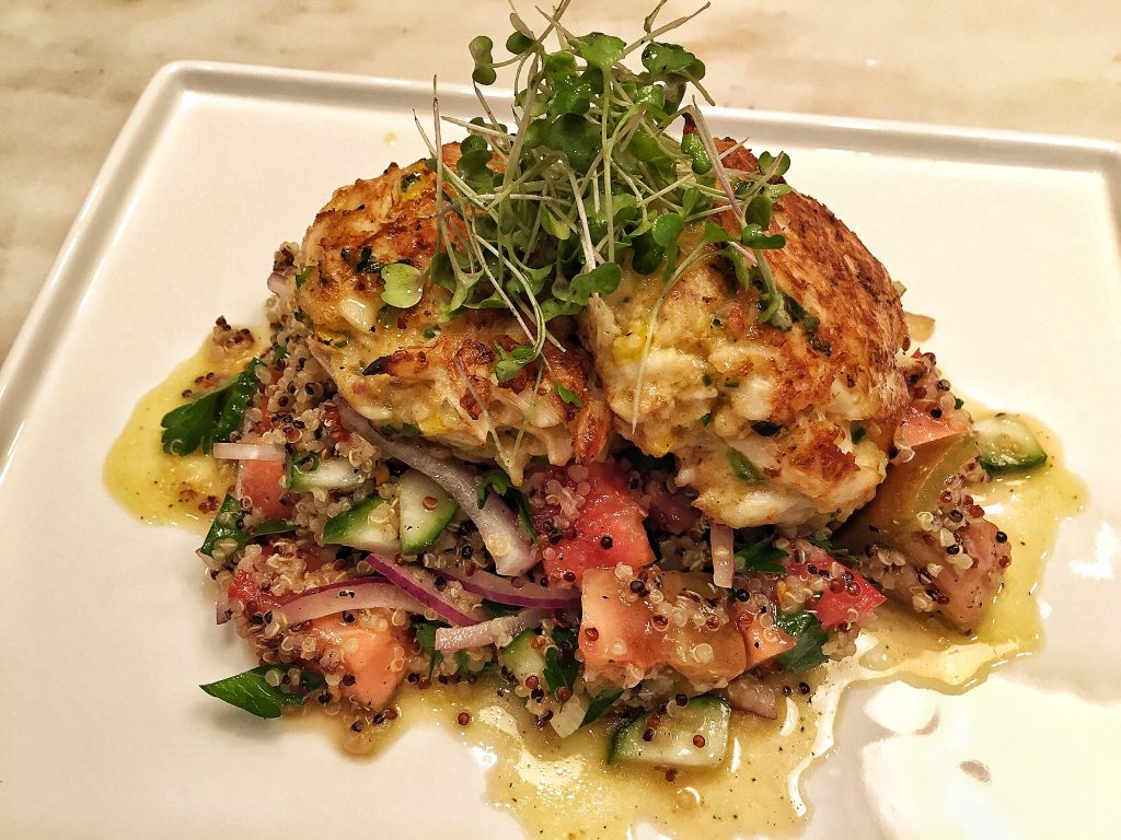 Jumbo Lump Crab Cakes over Heirloom Tomato and Quinoa Salad with Lemon Honey Vinaigrette