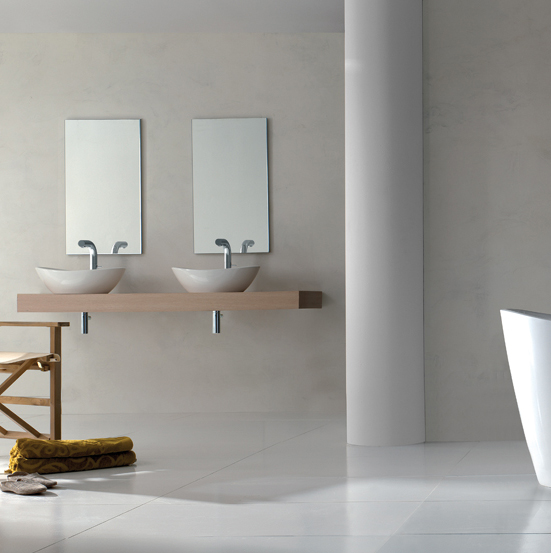 Victoria + Albert Amalfi 55 basin in volcanic limestone is distributed in Quenesland by Luxe by Design, Brisbane.