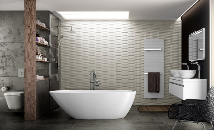 Victoria + Albert Mozzanobath in volcanic limestone is distributed in Quenesland by Luxe by Design, Brisbane.