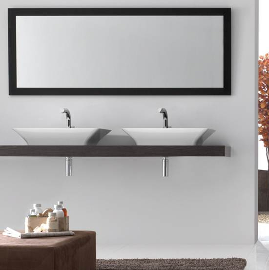 Victoria + Albert Ravello 60 basin in volcanic limestone is distributed in Queensland by Luxe by Design, Brisbane.