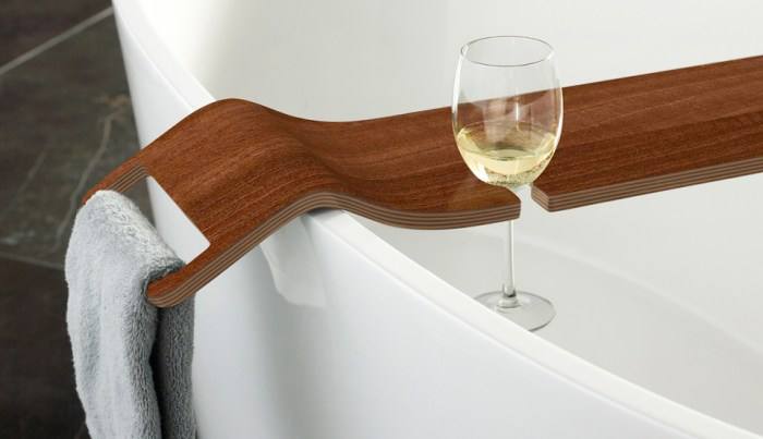 Victoria + Albert Tombolo 10 Walnut bath caddy is distributed in Queensland by Luxe by Design, Australia.