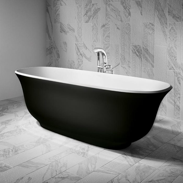 Victoria + Albert Amiata matte black bath in matte black by Luxe by Design, Brisbane.
