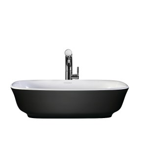 Victoria + Albert Amiata Matte Black basin custom painted bath by Luxe by Design, Brisbane.
