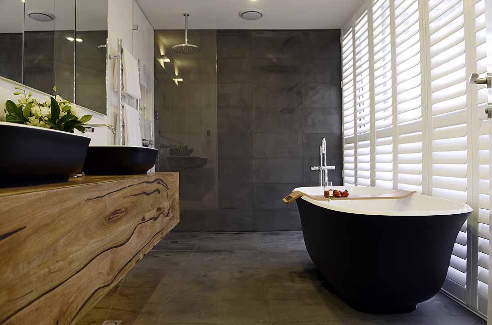 Victoria + Albert Amiata bath in matte black by Luxe by Design, Brisbane.