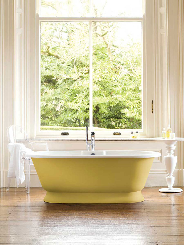 Victoria + Albert York bath in yellow custom painted finish by Luxe by Design, Brisbane.
