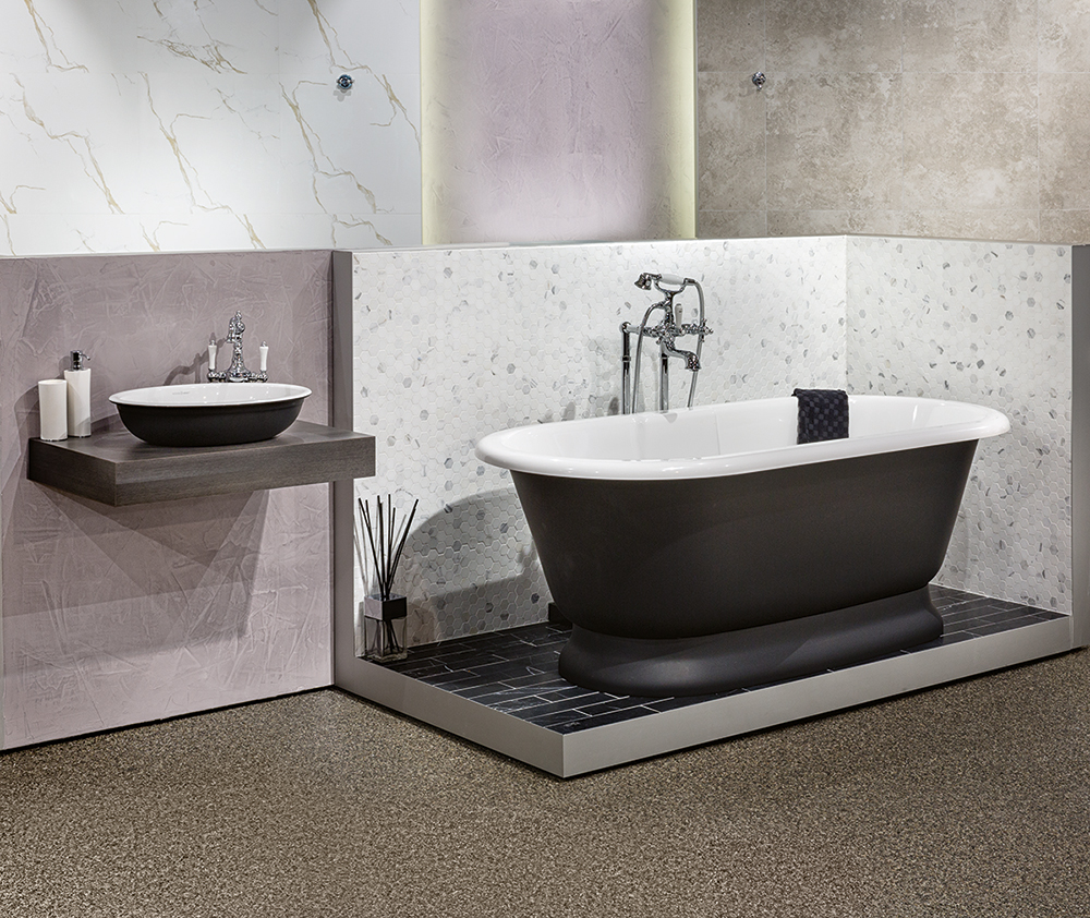 Victoria + Albert Gallery showroom display at Domayne Alexandria. Anthracite York bath and Radford 51 basin