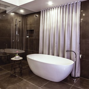 Domayne Victoria and Albert Bathroom Design Competition 2016 - Amalia Briotelis Barcelona bath and luxurious curtained bathroom wall
