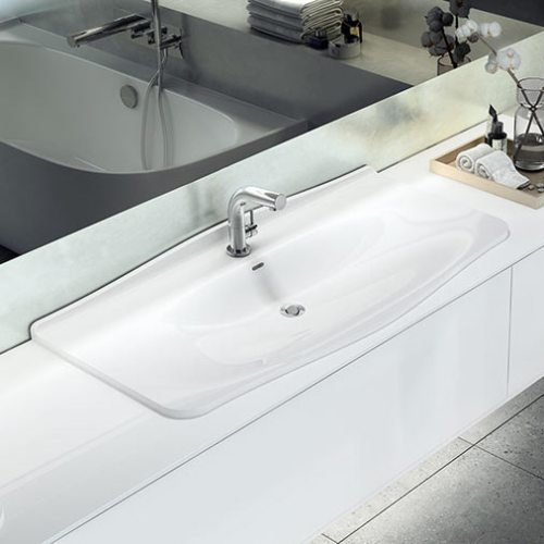 Victoria + Albert Mandello 114 Solo recess mounted stone washbasin - distributed in Australia by Luxe by Design, Brisbane.