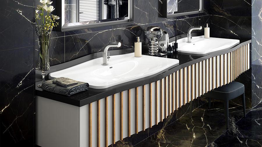 Victoria + Albert Mandello 114 Solo recess mounted stone washbasin - distributed in Australia by Luxe by Design, Brisbane.