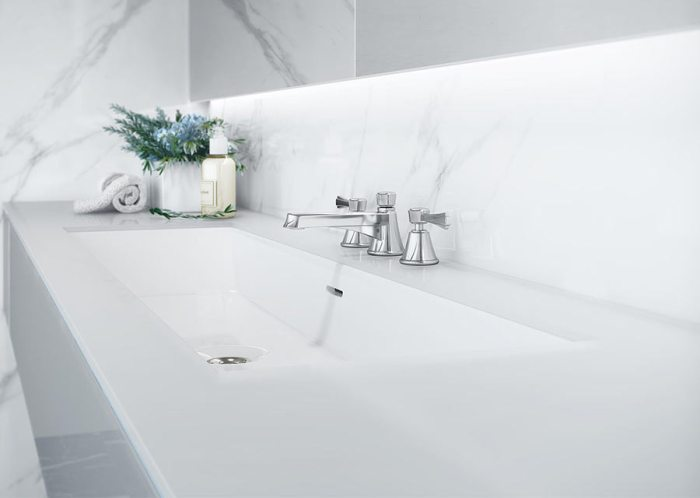 Victoria + Albert Rossendale 122 recess mounted stone washbasin - distributed in Australia by Luxe by Design, Brisbane.