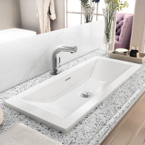 Victoria + Albert Rossendale 91 recess mounted stone washbasin - distributed in Australia by Luxe by Design, Brisbane.