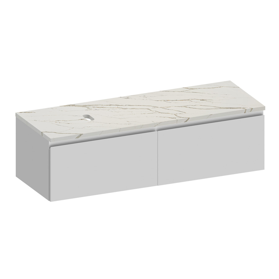 Kokoon Elements 140cm matte white cabinet with Vena d'oro stone top. Luxe by Design Australia