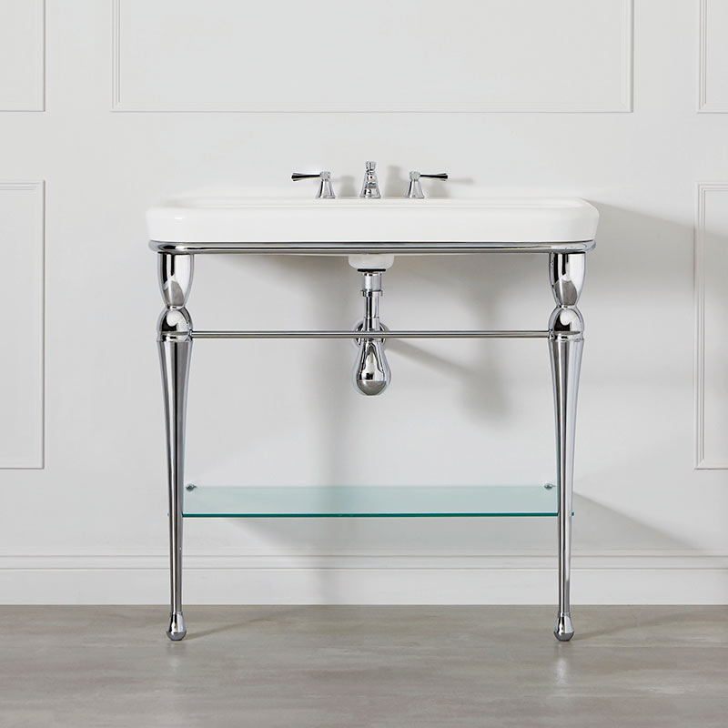 Victoria + Albert Candella 100 washstand. Metal frame, porcelain top style bathroom vanity. Distributed by Luxe by Design Australia.