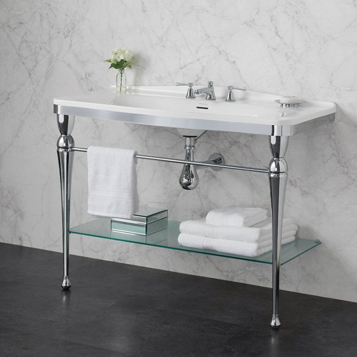 Victoria + Albert Candella 114 washstand. Metal frame, porcelain top style bathroom vanity. Distributed by Luxe by Design Australia.