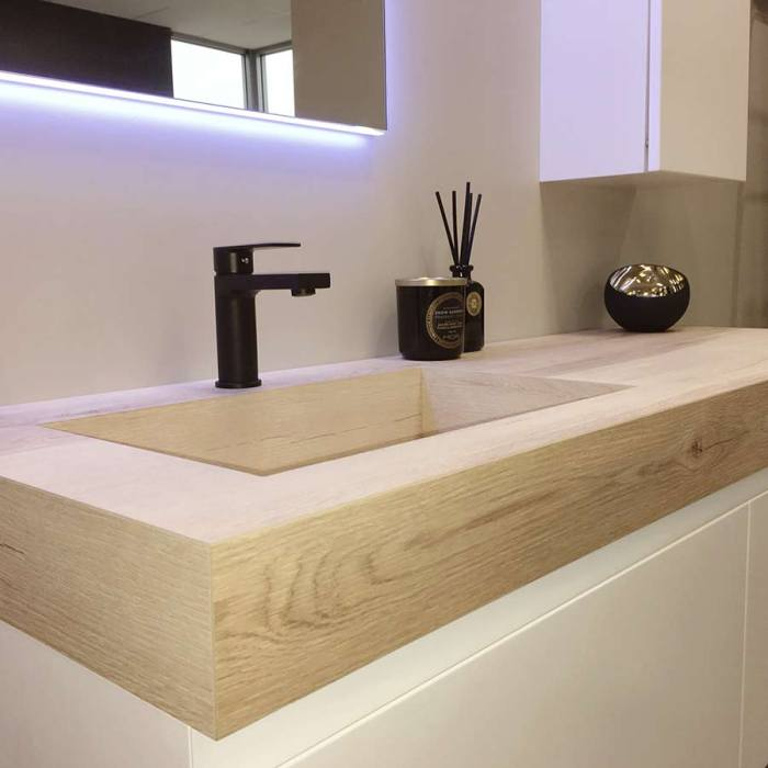 Kokoon Elements 140cm matte white cabinet with HPL rovere wafer top. Luxe by Design Australia
