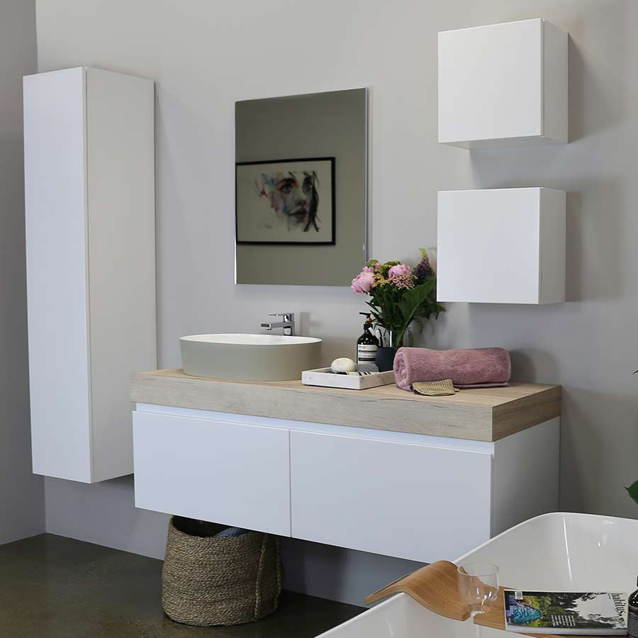 Kokoon Elements matte white cabinet with HPL rovere wafer top, wood grain effect. Luxe by Design Australia