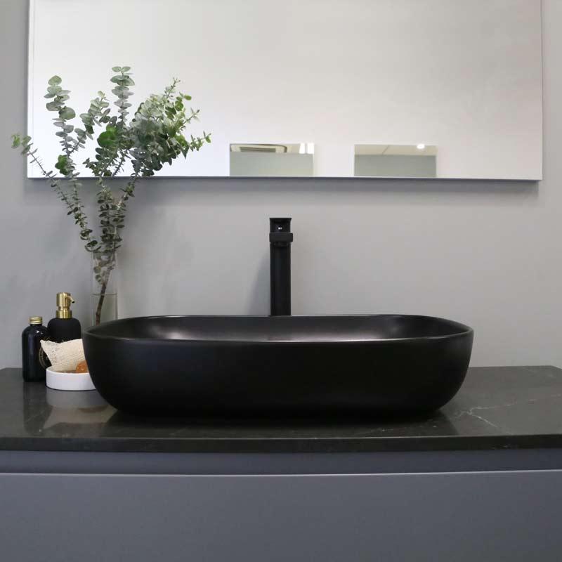 Kokoon Elements 120cm matte graphite cabinet with Tempesta stone top. Luxe by Design Australia