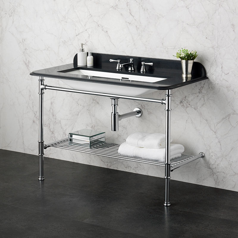 Victoria + Albert Metallo 113 black quartz washstand. Metal frame, stone or marble top bathroom vanity. Distributed by Luxe by Design Australia.