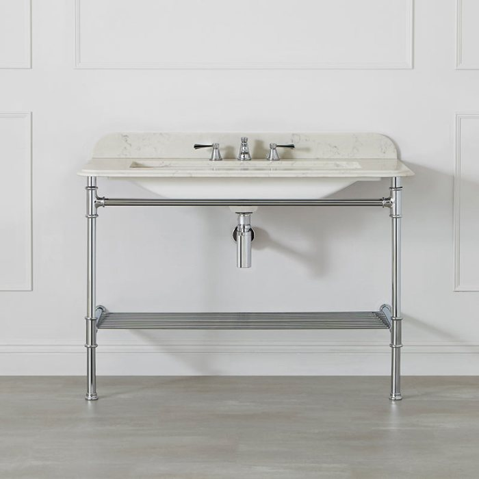 Victoria + Albert Metallo 113 white quartz washstand. Metal frame, stone or marble top bathroom vanity. Distributed by Luxe by Design Australia.
